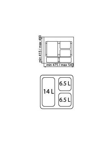 kit bandeja y 4 cubos